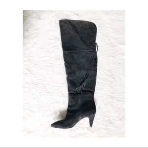 Nine West Black Suede Knee High Boots sz10